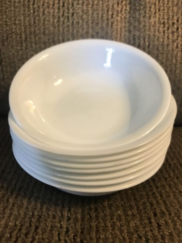 """Eight (8) Corelle Winter Frost White 5 3/8"""" Berry Bowls"""