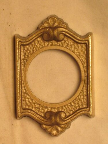 """ornate vintage antique door lock plate architectural brass cover 1.5"""" hole diam."""