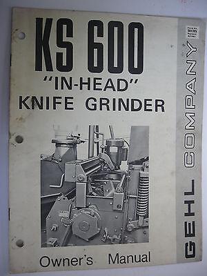 Gehl Ks600 In-head Knife Grinder Owners Manual