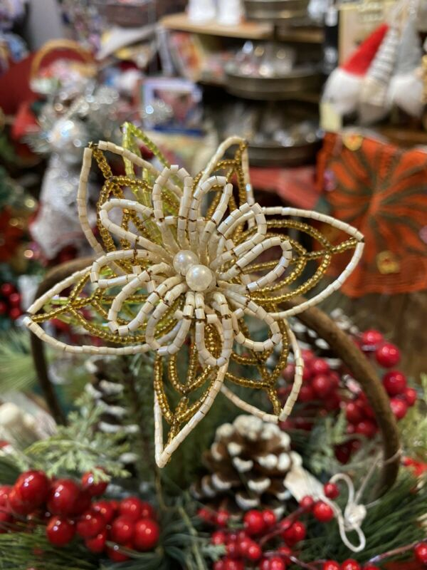 Vintage Christmas Ornaments / Beaded Poinsettia