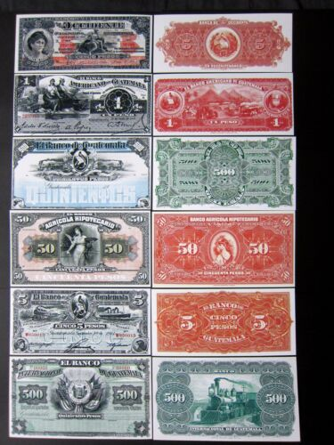 Old Guatemala notes Copy Reprint Reproductions  1 5 50 500 Pesos Quetzal bird