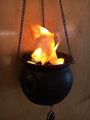Plastic Witches Cauldron (Plastic Flaming Witch Cauldron Hanging Halloween Decoration With Lights And)