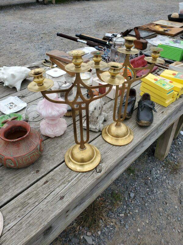 Stunning Art Nouveau Arts and Craft Era Brass? Candlesticks