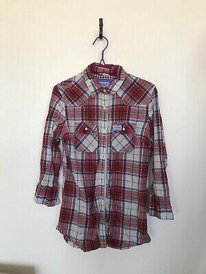 Ladies Superdry Check Shirt Red White Blue  Size S 3/4 Sleeves comprar usado  Enviando para Brazil
