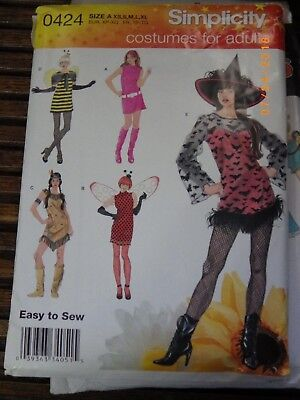 Simplicity Costume 2324  Misses Witch Bee Pocohantas Ladybug Dress XS-XL Uncut