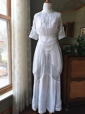 Edwardian Dress Embroidered Blue White Lace Draped Gown Antique Lawn Tea 1910s