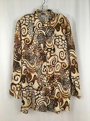 Chico's Brown Print 100% Linen Tunic Shirt  size L 2 ~ Pockets 2 Pocket Linen Tunic