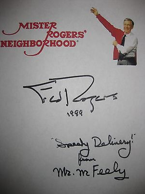 Mister Rogers' Neighborhood Signed TV Script Fred Rogers David Newell McFeely RP