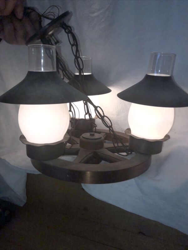 Vintage wagon wheel ceiling light- Mid Century Modern decor/ lighting- western