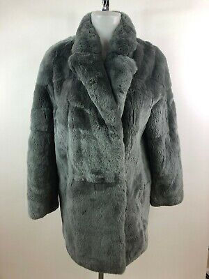 YVES SALOMON Rex Rabbit Gray Fur Coat Silk Leather Lined SZ 34/2
