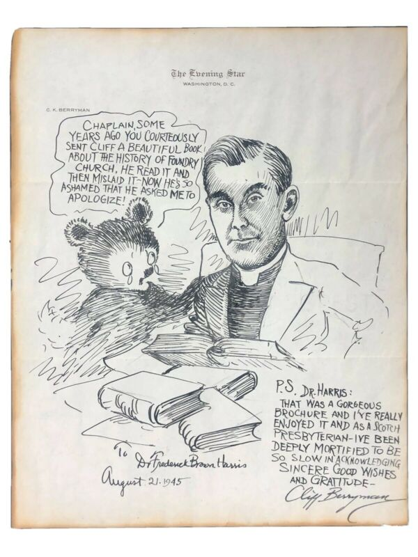 ORIGINAL CLIFF BERRYMAN POLITICAL CARTOONIST SIGNED INSCRIBED TEDDY BEAR CARTOON