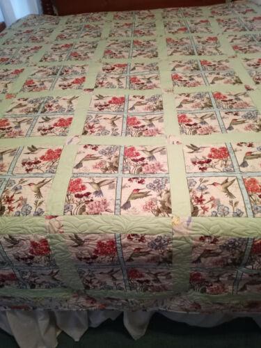 Handmade Queen Oversized Quilt, Hummingbirds