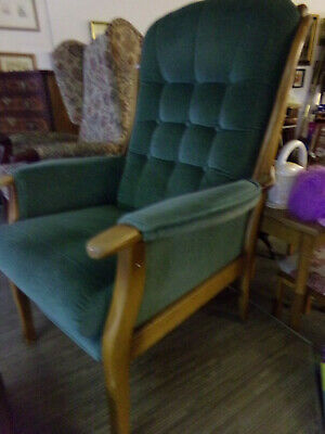 high backed armchair used, green, good condition