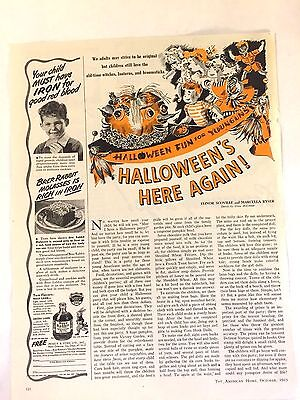 1943 The American Home Article Ad Halloween Party Print Witch JOL Sketch Pumpkin](Halloween Pumpkin Sketches)