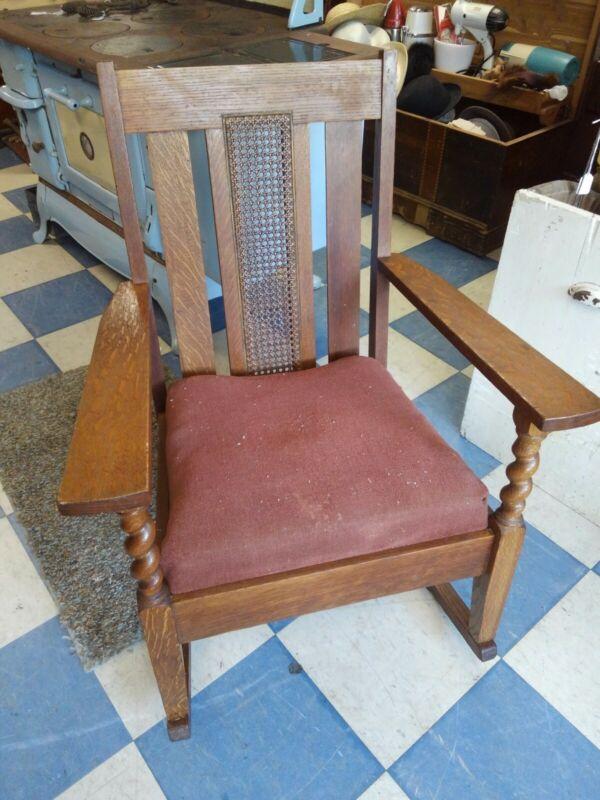 Antique Mission Arts & Crafts Cane Back Oak Wood Rocking Chair