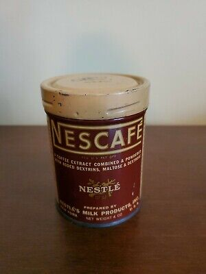 Vintage 4 oz Nestle NESCAFE Coffee Tin Can Screw Top Lid GREAT CONDITION