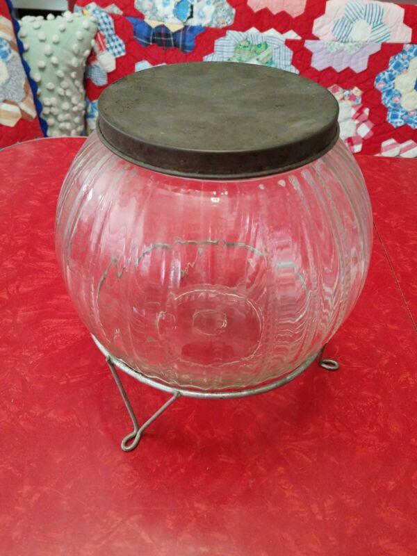 "AQ Sellers/Hoosier Cabinet Ribbed Jar Zipper Design 8"" Glass Round Canister Jar"