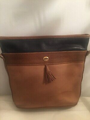 VINTAGE GUCCI SHOULDER/BODY BAG, BEIGE & BLACK LEATHER, GOOD CONDITION.