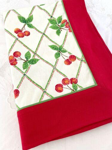 Vintage CHERRY DESIGN TABLECLOTH Fashion Industries Cotton Cherries Red Border