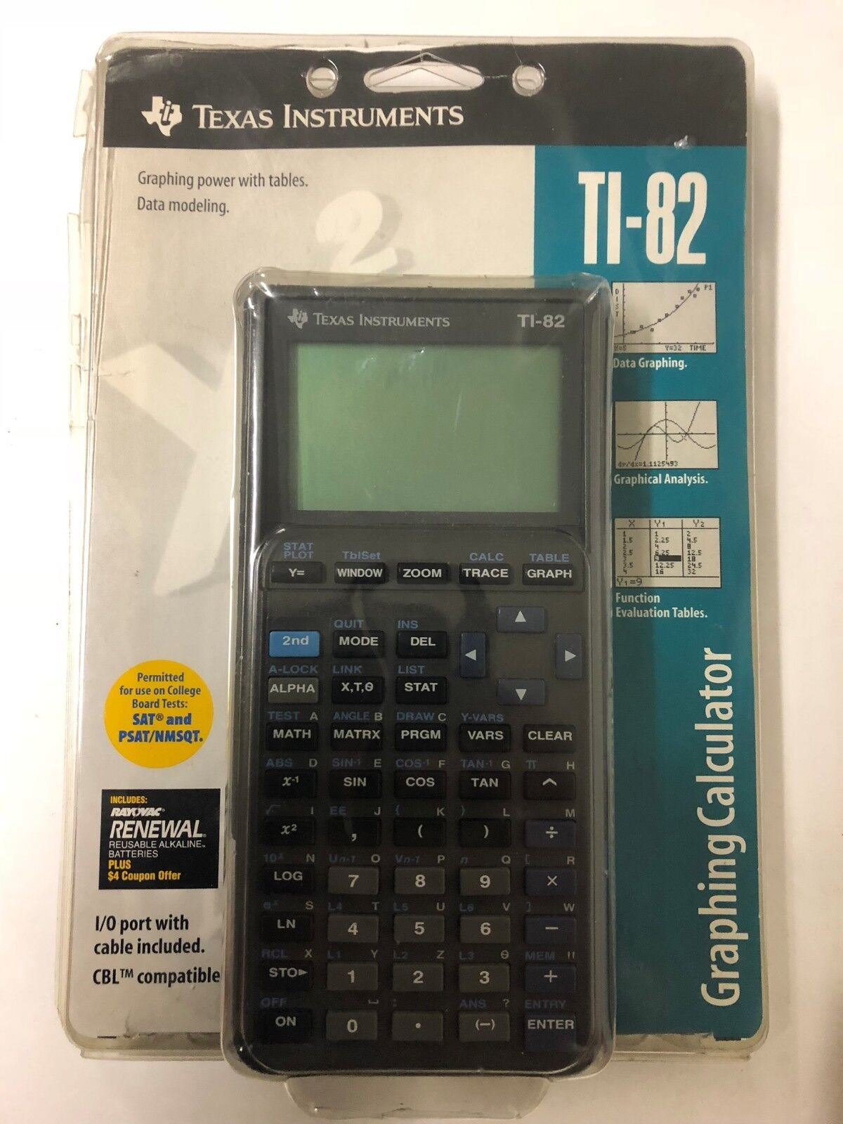 Texas Instruments TI-82 Gray Graphing Calculator I/O Port Cable & Manual