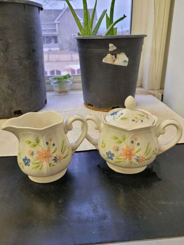 Sears Country French Ironstone #4453 Creamer Sugar Bowl Peach Blue Flowers Green