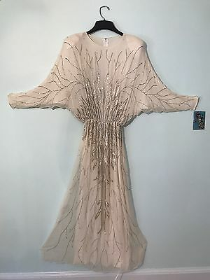Vintage Beaded Chiffon Ivory Wedding Gown Batwing Sleeves 70s boho Hipster