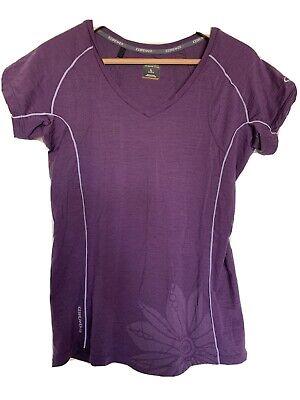 Icebreaker GT Women's V Neck Purple Flower Shirt Short Sleeve Top Base layer  L