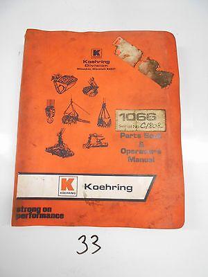 Koehring 1066d 1066-d Excavator Hoe Parts Catalog Operators Manual 974
