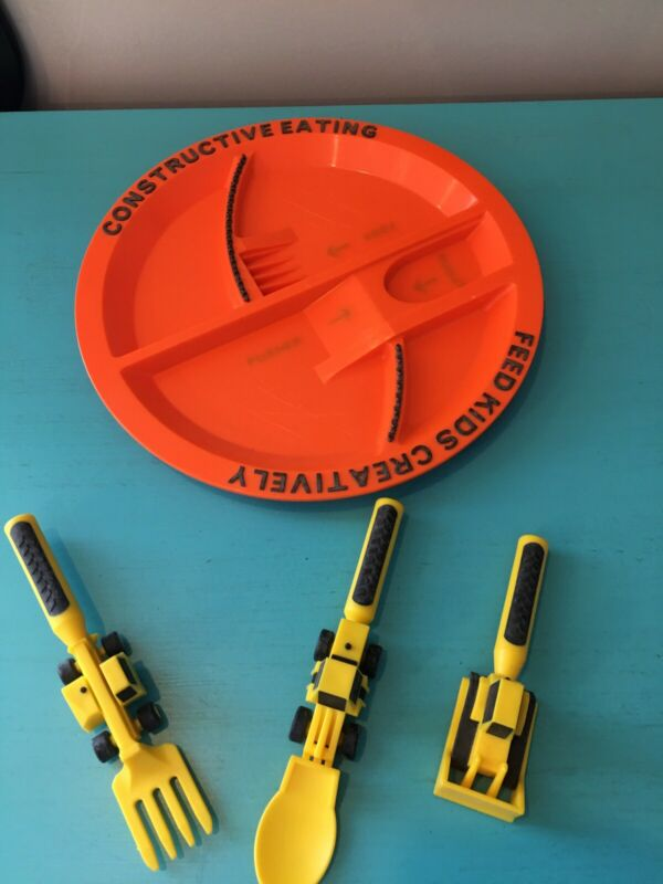 Construction Plate Utensils Plate Set Kids Creative Constructive Feeding Dish