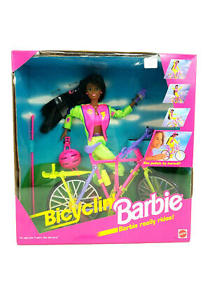 Mattel Bicyclin Barbie Doll African American 11817 Vintage New in Box 1993