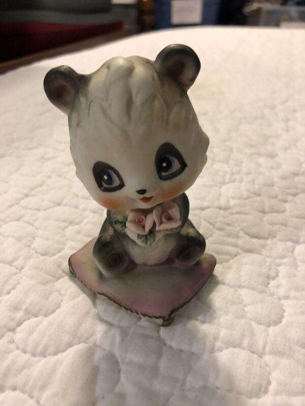 Vintage Enesco Japan Baby Big Eyes Panda Bear Black White Porcelain Figurine