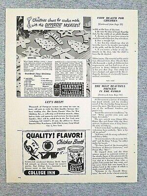 1949 Magazine Advertisement Page Grandma's Molasses College Inn Chicken Broth - College Inn Chicken Broth