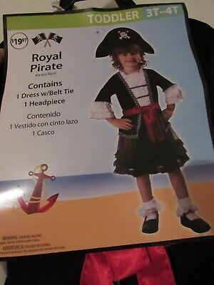 New Royal Pirate Halloween Costume Toddler Girl Size 3T-4T (Blue Pirate Girl Costume)
