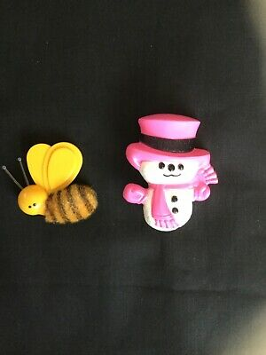 Vintage Avon 1970's Bumble Bee Pin, Christmas Fragrance Glacé Snowman Pin.