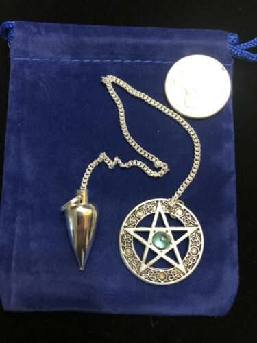 Metal Pentagram Pendulum Blue Crystal Wicca Pagan Metaphysical 01