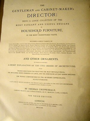 """Chippendale, Thomas. The Gentleman and Cabinet-Maker's Director. 19""""x12"""" 1762 for sale  Shipping to Nigeria"""
