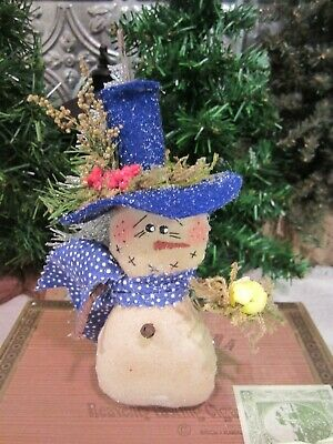 Snowman Ornament Wooden Painted Yellow Hat Distressed Vintage Christmas Holiday Decor Frosty Scarf Gift