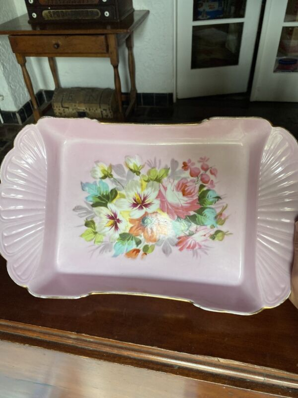 Antique, Large, Pink Serving Dish With Roses And Miscellaneous Flowers.