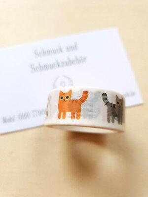 Wunderschönes Katzen Washi Tape ♥ Klebeband Scrapbooking Bastelbedarf * 5m ()