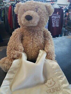 Gund Baby Peek-A-Boo Animated Talking 14in Tan Teddy Bear Blanket LNWTS 320193