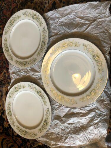 "3 Dream Time Oxford 10-5/8"" Dinner Plate Pastel Floral Platinum Trim Japan 530"