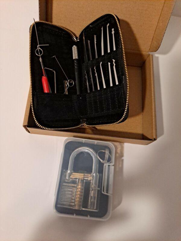Lock Smith Tool Set-Stainless Steel, Pick Lock  Training kit 17 Pcs + 1 Lock
