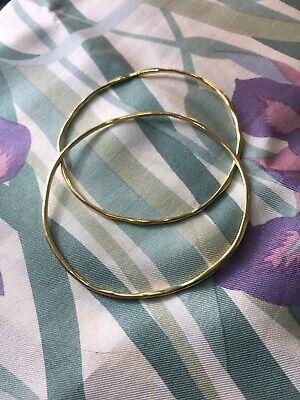 Pair 18k Yellow Gold Ippolita Squiggle Stacking Bangle Bracelet RRP $3000