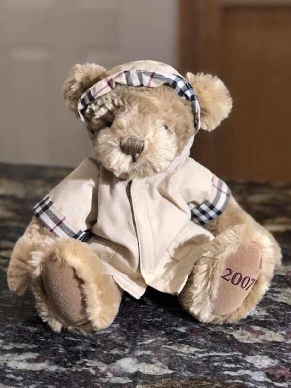 2007 Burberry Plush Beige Teddy Bear Nova Check Hooded Raincoat 11