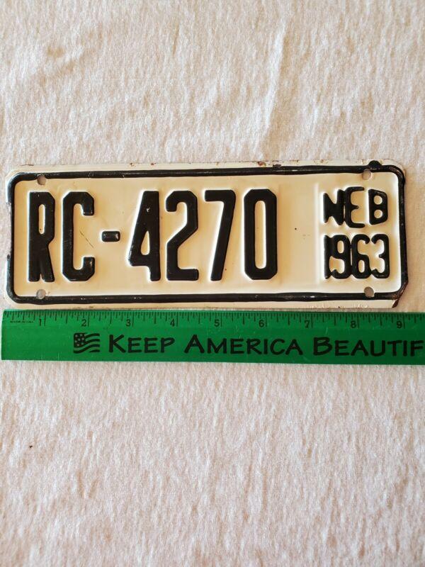 Nebraska 1963 License Plate. (RC-4270)