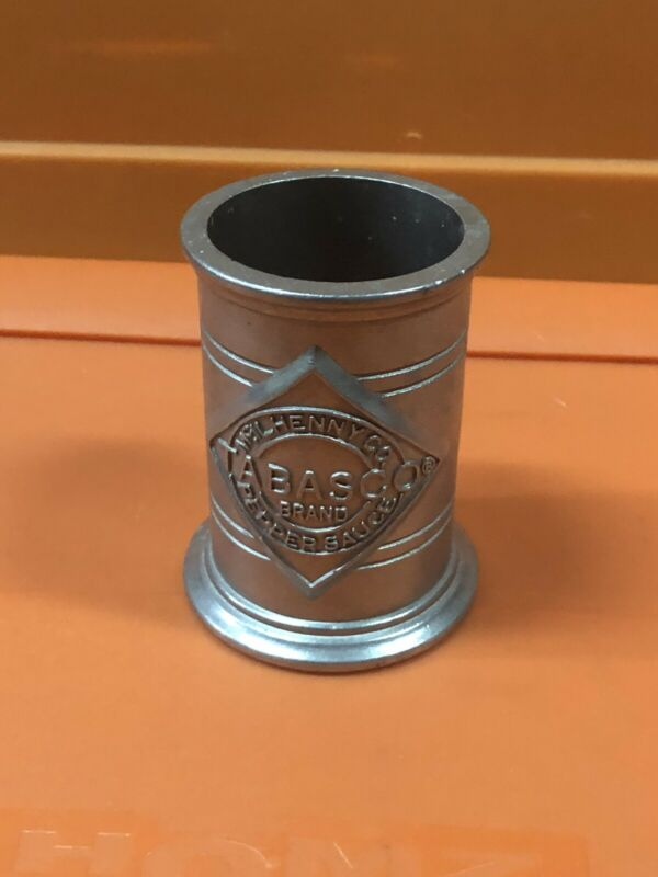 Rare VTG Tabasco Pepper Hot Sauce Metal Condiment Cup Bottle Holder 3.5""