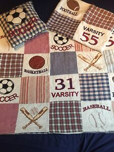 Boys Bedding Sports Quilt and Sham Single