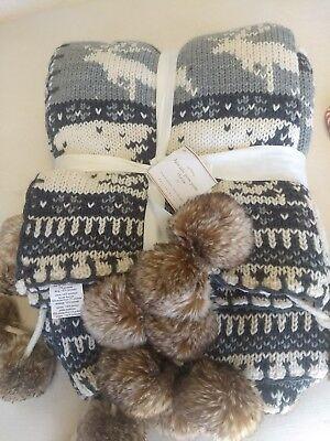 Pottery Barn Throw Faux Fur Gray Fair Isle Pom Pom Blanket 50x60 Cabin Christmas