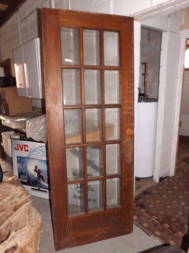 Vintage 15 lite light  beveled glass oak door