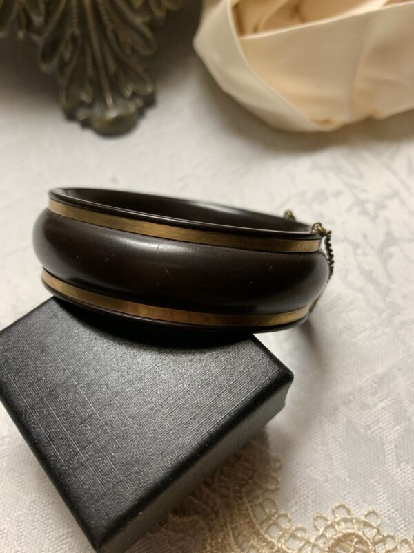 Mourning Bracelet Cuff Gutta Percha Victorian Gold Ring Inlay